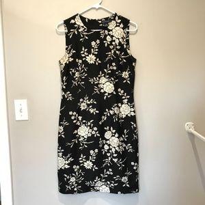 Ann Taylor  Black and White Floral Dress Size 8